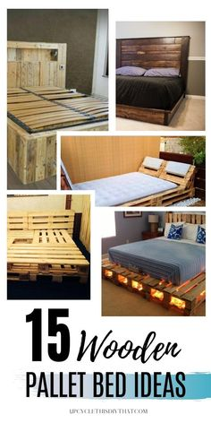 Are you looking for a cheap, simple, and budget-friendly way to give your bedroom an instant makeover? If so, then check out these 15 wooden pallet bed ideas for your next upcycling project. Create a great looking bedroom with these DIY pallet bed frames that are simple and budget friendly. Learn how to build a wooden pallet bed frame in no time. pallet bed with storage|pallet bed with lights|pallet wood bed frame Pallet Furniture Bed, Diy Pallet Couch, Recycled Wood Furniture, Pallet Bed Frames, Wooden Pallet Projects, Wooden Pallet Furniture, Pallet Wood, Wood Home Decor, Diy Home Decor