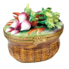 Radish & Carrot Basket Limoges Box | Limoges Boxes | Handpainted Porcelain | Collectables | ScullyandScully.com
