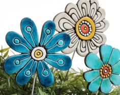 This article is not available Flower garden art made from ceramics. Our ceramic plant poles are fantastic little garden ideas, they also make great gi. Ceramics Projects, Clay Projects, Clay Crafts, Ceramic Flowers, Clay Flowers, Flowers Garden, Flower Ornaments, Garden Ornaments, Garden Markers