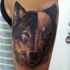 Wolf and skull half face tattoo arm placement