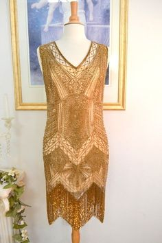 Limited Edition 1920s Style Gatsby Gold Beaded Fringe Flapper Dress Any Size 1920s Beaded Flapper Dress Flapper Dress Fringe Flapper Dress