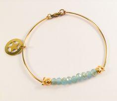Laiton doré à l'or fin - Cristal de Bohême Bangles, Bracelets, Charlotte, Gold, Jewelry, Crystal, Bangle Bracelets, Brass, Jewlery