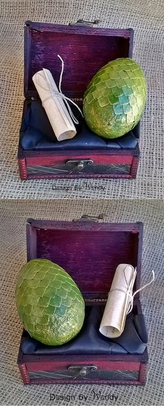 Green dragon egg in wooden chest with dragon story is ideal as geek gift set. The egg comes with a scroll telling a story about Sky Master. CAUTION: If you put the egg into fire, you do that at your own risk! It will either burn or hatch a dragon. #dragon #dragonegg #dragoneggs #geek #nerd #fandom #fantasy