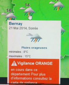 Météo et alerte orange à Bernay...