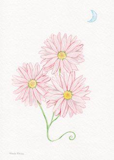 Moonlight Pink Flowers  Original Watercolor Painting by fleurzart, $25.00