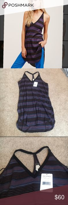 NWT free people loui tunic Details A split hem accentuates the drape silhouette of a '90s-inspired tank with variegated stripes and a multi-strap racerback. - V-neck - Imported  66% rayon, 31% polyester, 3% spandex  Machine wash  Fit: this style fits true to size. Free People Tops Tunics