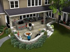 Great back patio area.I hope we have enough room in our backyard once our hous. - Great back patio area…I hope we have enough room in our backyard once our house is built to do th - Stone Patio Designs, Backyard Patio Designs, Patio Ideas, Gazebo Ideas, Backyard Ideas, Concrete Patios, Casa Patio, Pergola Patio, Pergola Kits