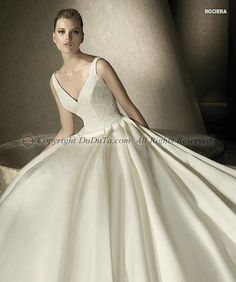 Ball Gown Satin V-neck Straps Natural Sweep Wedding Dresses With Embroidery Pockets, Wedding Dresses, Bridal Gowns, Bridal Wedding Dresses