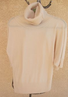 Boss Extra Large Turtleneck Ivory 2 Ply Cashmere Career New with Flaw