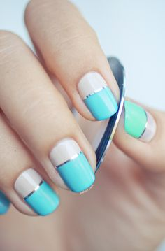 Nail art Color Block. Blue green striping tape silver summer spring