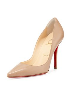 Apostrophy+Pointed+Red+Sole+Pump,+Nude+by+Christian+Louboutin+at+Neiman+Marcus.