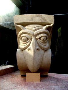 Portland limestone Grotesque Sculptures / Statues / figurines sculpture by artist Ben Russell titled: 'Beakhead (Carved stone Beaked Gargoyle sculptures)'