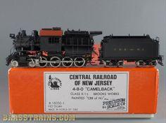 HO Brass Model Train - PSC CNJ 4-8-0 Camelback K-1s Brooks Works Sold for $795.00