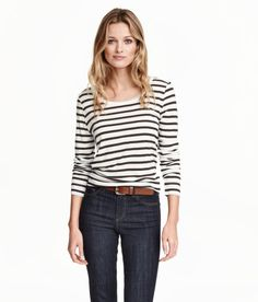 Check this out! Long-sleeved top in soft jersey with a slight sheen. Gently rounded hem. - Visit hm.com to see more.