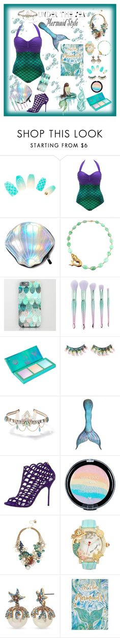"""Under the Sea"" by allyssister ❤ liked on Polyvore featuring Circus by Sam Edelman, Forever 21, Lime Crime, FromNicLove, WALL, Miss Selfridge, Sirena, Sergio Rossi, Betsey Johnson and Graham & Brown"
