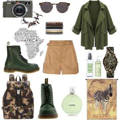 Safari Tour by tiffany-wasp-trixx on Polyvore featuring moda, Marc Jacobs, Dr. Martens, Illesteva, Yves Saint Laurent, GUESS, Chanel, Caudalie and Laura Mercier
