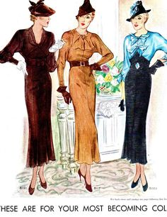 1935 Fashions ~ McCall 8121, 8117 and 8059 from McCall's magazine