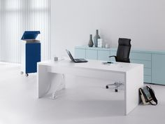 WernerWorksByensemble Reception Desk, Roll container and Credenza Storage Office Furniture Design, Home Office Design, Work Desk, Office Desk, Stand Up Table, Executive Room, Work Meeting, Mobile Storage, Living Room Designs