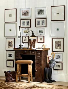 #gallerywall possibilities are endless - Surrounding an object, in this case a desk, makes this wall grouping very interesting. The large mats add drama to this space!  Love it!