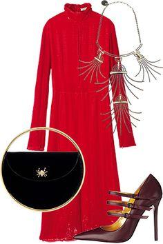 極上の女を演出する赤いベロアドレスで、世界最高峰の芸術を味わう。【週末コーデ&イベント】|定番ファッショントレンド(流行・モード)|VOGUE JAPAN
