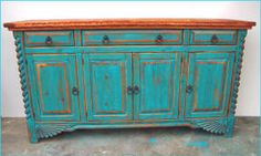 turquoise buffet hutch | Southwest Cabinets, Buffet, Corner, Jewelry, Hutch, Curio