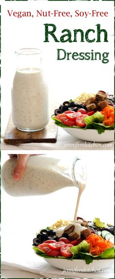 Vegan, Soy-Free, Nut-Free Ranch Salad Dressing #vegan #soyfree #nutfree #ranch #dressing #recipe #salads