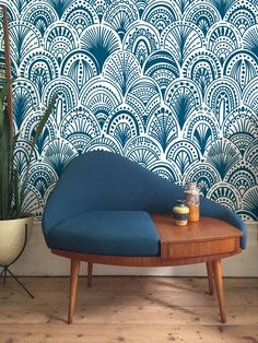 Blue Bohemian Removable Wallpaper - Abstract Wallpaper - Blue Wall Mural - Modern - Peel and stick - Wall covering - Wall Decal Bohemian Wallpaper, Of Wallpaper, Wall Murals Bedroom, Mural Wall, Wall Décor, Blue Walls, Cool Walls, Decoration, Apartments Decorating