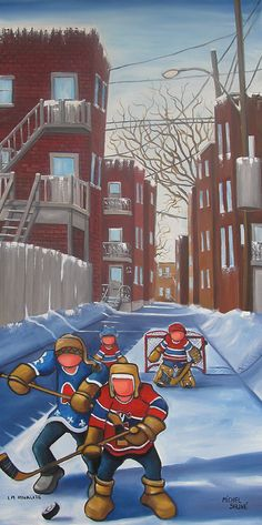 Get a game of hockey going! Get some exercise in. Small Paintings, Watercolor Paintings, Montreal Hockey, Acrylic Painting Inspiration, Sports Art, Canadian Artists, Art Model, Artist Art, Art World