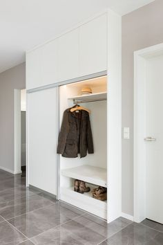 Wardrobe with integrated seat. Seat made of machined Egger Kompaktpl … - Home Page Hall Wardrobe, Wardrobe Design, Sliding Wardrobe, Armoire Entree, Coat Cupboard, Hall Furniture, Interior Design Sketches, House Entrance, Entry Hall