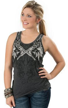 Rock & Roll Cowgirl® Women's Charcoal Burnout with Guns & Wings Embellished Tank