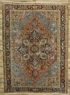 Pre-1900 Geometric Antique 8x11 Heriz Serapi Persian Oriental Area Rug Carpet #Persian