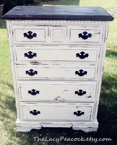 Tall Black and White Distressed Dresser/ Chest of Drawers