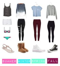 """""""My basic style for each season"""" by mary-mara on Polyvore featuring Topshop, UGG Australia, Converse, Billabong, IPANEMA, women's clothing, women's fashion, women, female and woman"""