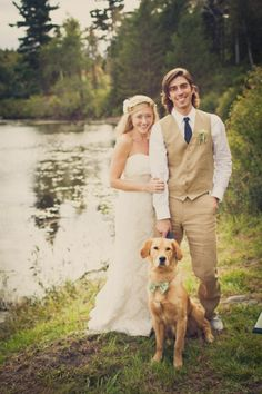 The doggy in the bowtie is just so cute!   This featured a backyard wedding, it was all very beautiful... I kind of like the summery, relaxed air of something like that, in the outdoors. // #photo #venue