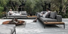 outdoor furniture sofa - Making the most of your outdoor space is essential when the weather is warm, which is what the 'Grid' Modular Outdoor Furniture Sofa ai. Backyard Seating, Outdoor Seating, Outdoor Spaces, Outdoor Decor, Deck Pergola, Outdoor Furniture Sofa, Garden Furniture, Teak Furniture, Outdoor Sofa Sets