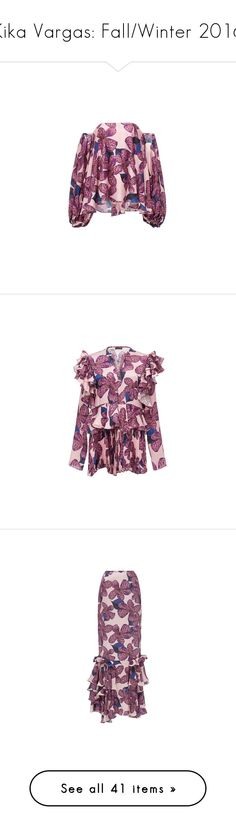 """Kika Vargas: Fall/Winter 2016"" by livnd ❤ liked on Polyvore featuring collection, fallwinter2016, KikaVargas, tops, blouses, floral top, floral off the shoulder top, purple floral top, purple off shoulder top and long tops"