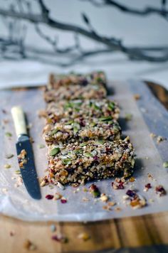 A healthy snack: Quinoa Fruit Nut Bars.