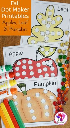 Free Fall Dot Markers: Apple, Leaf & Pumpkin - 2 page options for each of the fall themes - 3Dinosaurs.com #dotmarker #bingodabber #fallprintables #3dinosaurs