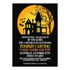 Spooky House Pumpkin Carving Party Invitations