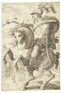 Marcus Curtius, Roman hero by Lucas van Haelwech, 1602. Rijksmuseum, Public Domain