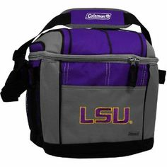 NCAA LSU Fightin Tigers 24 Can Soft Sided Cooler by Licensed Products. $19.99. Holds 24 cans of your favorite beverage.. Includes carabiner and mesh carry pouches on sides.. LSU Tigers embroidered full team logo featured on front.. Liner made of FDA approved material.. Features adjustable carry strap.. Show your team spirit at the game, on the shore or poolside with this Coleman branded 24 can soft sided cooler.  This highly functional cooler predominatly showcases you...