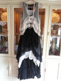 Magnolia Pearl Retired Silk Tunic Victorian Skirt Black   eBay