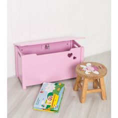 Pink Children's Storage Box with Heart Cut Out