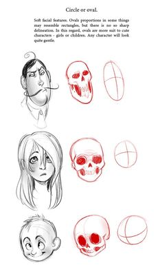 "fuckyeahcharacterdevelopment: "" sdkay: "" My old tutorial! Wanna share it with you) "" Shape-based character design tips actually usually inspire me to go against what they say (ie., 'round things are. Character Design Tutorial, Character Design Inspiration, Drawing Lessons, Drawing Techniques, Drawing Tips, Sketch Drawing, Sketch Head, Anime Sketch, Art Sketches"
