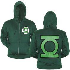 Green Lantern Symbol Zip-Up Hoodie-Large