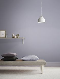 Lilla, named after soft pastel purple flower, inspired this stunning shade. Red undertones, but large amounts of blue pigments create this subtle shade. In brighter lights, this appears a soft lilac colour, whilst darker, dimmer rooms it may appear slightly grey. Lilac Bedroom, Gray Bedroom Walls, Grey Room, Living Room Grey, Grey Walls, Purple Rooms, Purple Walls, Purple Wall Paint, Lilac Grey
