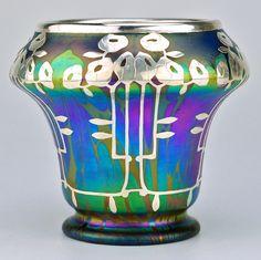 Loetz art glass vase with silver overlay of Art Nouveau flowers, 1902, Blue Opal Medici pattern, pattern # PG 2/484
