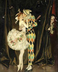 """Harlequin and Columbine"" by Frank Xavier Leyendecker (1876 - 1924)"
