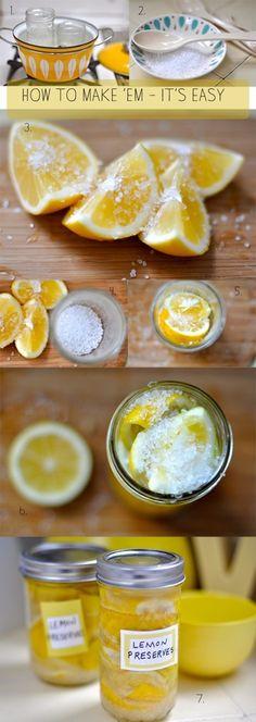 作り方:  1.容器にする瓶は煮沸消毒します。  2.塩を用意します。  3.レモンをよく洗い、水気を拭いたら、くし形に切ります。  切ったら、塩を振りかけておきます。  4.瓶の底に塩を敷き詰めます。  5.くし形に切ったレモンを殺菌した瓶に詰めていきます。  6.最後に塩で蓋をするように振りかけます。  7.蓋をして、冷暗所に一ヶ月以上置いたら完成です。    《Notice》  塩が段々と溶けて水分が上がってきます。 一日に一度は、瓶を上下逆さまにして振って、塩が全体に回るようにしましょう。  水分が足りない場合は、瓶の9分目位までレモンの絞り汁を足して下さい。  長く置けば置くほど、レモンの酸味の角がとれて、味がまろやかになり、独特の風味が生まれます。  夏場の暑い時期は、冷蔵庫で保存しましょう。