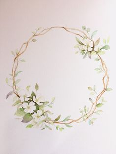 uploaded by cyndi Watercolor Plants, Wreath Watercolor, Watercolor Cards, Floral Watercolor, Watercolor Paintings, Corona Floral, Wreath Drawing, Floral Logo, Flower Backgrounds